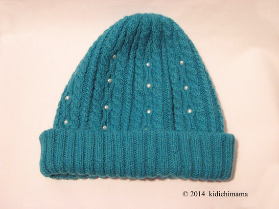 Beanie is hand knit in teal green wool with faux pearls, ski cap, watch cap, women accessories hats, toboggan, winter hats