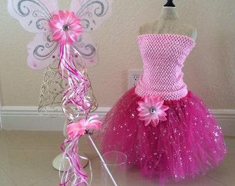 Pink Fairy Dress, Pink Tutu Dress, Pink Fairy Wings, Fairy Wings, Pink Fairy Costume,  Princess Costume, Fairy Tutu, Princess Tutu, Princess