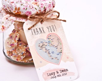 Heart Map favour tag