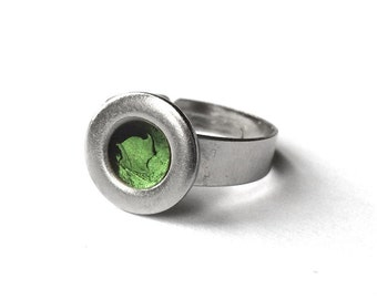 Green Simple Silver Modern Stainless Steel Ring, Adjustable Womens Ring, Customizable Color