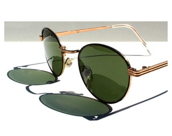Vintage Round P3 Sunglasses / Gatsby Glasses / John Lennon Sunglasses / Green Lenses / Gold Frames / O'Malley Sunglasses for Men Women