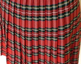 Vintage 90s Pleated Tartan Skirt, Mini Plaid Kilt