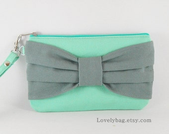 SUPER SALE - Mint with Gray Bow Clutch - Bridesmaid Gift Bag, Wedding Gift , Cosmetic Bag, Camera Bag, Zipper Pouch Wristlet - Made To Order