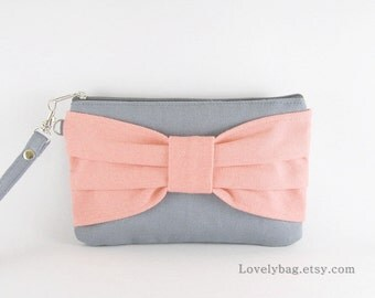 SUPER SALE - Clutch Bridal, Clutch Bridesmaids / Gray with Peach Bow Clutch - Made To Order