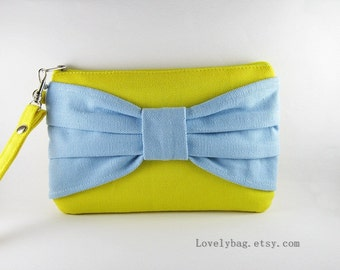SUPER SALE - Yellow with Light Blue Bow Clutch - Bridal Clutches, Bridesmaid Wristlet,Wedding Gift,Cosmetic Bag,Zipper Pouch - Made To Order