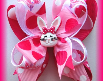 Pink Floppy Bunny Easter Egg Boutique Bow HairBow Clip Clippie