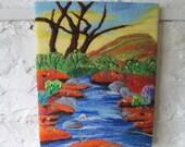 felt landscape, felt painting, textile art, 20 x 16