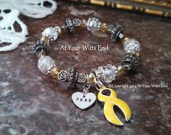 Suicide Awareness Bracelet, Stretchy bracelet, suicide, awareness bracelet, yellow ribbon, awareness jewelry,suicide, yellow jewelry