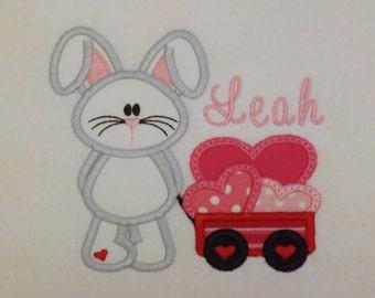 Valentine Bunny with Wagon T-Shirt