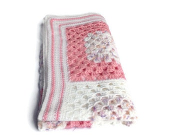 Baby blanket, girls,  afghan crochet, granny square blanket, pink and white.