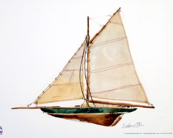 The Sloop. Digital reproduction of a watercolour painting of model boat.