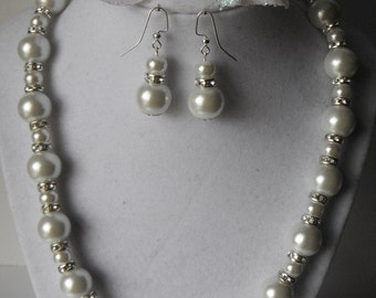 White Glass Pearls and Rhinestone Necklace Set