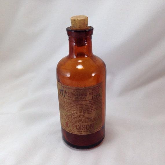 Antique Amber Poison Bottle Cyanide Acid Hydrocyanic Merck