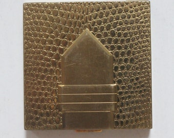 SALE! 1950s Dorothy Gray Cosmetics Gold Tone Textured Compact Vintage Deadstock