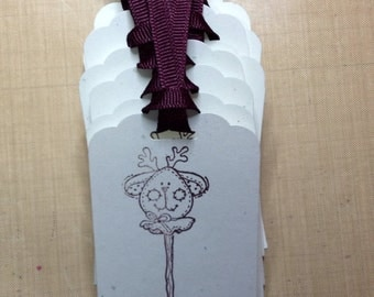 handmade reindeer Christmas gift tags w/ grosgrain ribbon  set of 12 hand stamped stick toy