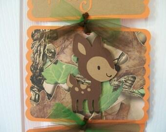 Camo Baby Deer Hospital Door Banner -  Boy Deer Sign - Baby Boy Deer Banner- Deer Baby Shower- orange and camo baby dear