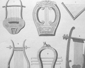 MUSICAL INSTRUMENTS Testudo Lyre Psaltery Triangular Harp Systrum  - 1807 Vintage Antique Print by Abraham Rees
