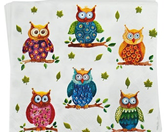SALE Owls - art napkin Decoupage SALE