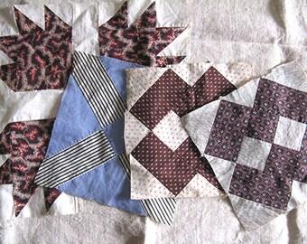 4 Vintage Hand-Sewn Cotton Patchwork Squares