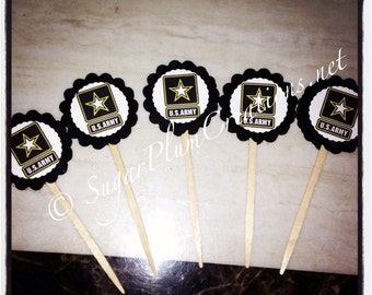 24 Army cupcake toppers, Army Theme Party, military party,