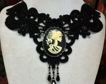 Black Lace Choker Necklace with Lolita Skull Goddess