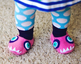 Girly Monster Fleece Baby Booties