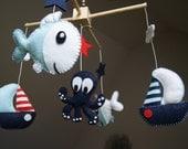 Baby Crib Mobile - Musical Baby Mobile - Nursery mobile - Funny Sea, Ocean