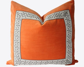 Decorative Orange Greek Key Velvet Pillow Cover, 22x22, 24x24 or 26x26, Throw Pillow