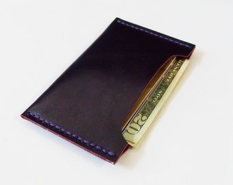 Card Case - Leather Card Holder in Violet - Simple Wallet for Men - Handmade and Hand Stitched - Free Monogram