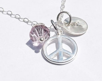 Personalized peace Pendant  - Sterling silver peace necklace -  birthday, wedding, graduation, bridesmaid, mother, friends