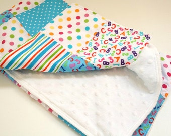 Baby Boy Blanket, Alphabet Theme Nursery, Colourful Patchwork Car Seat Blanket, Minky Pram Blanket, Baby Boy Gift, Shower Gift