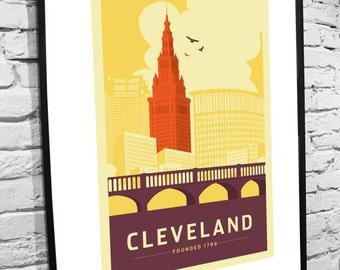 Cleveland, Ohio Skyline 11x14 Poster