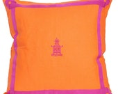 Orange and Pink Pagoda Pillow || Orange linen pillow with pink trim and pagoda Pillow-  20x20 Square Decorative Pillow Cover