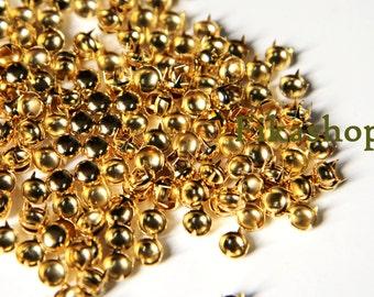 9mm 50pcs Gold round studs ( 4 legs ) / HIGH Quality - Fikashop