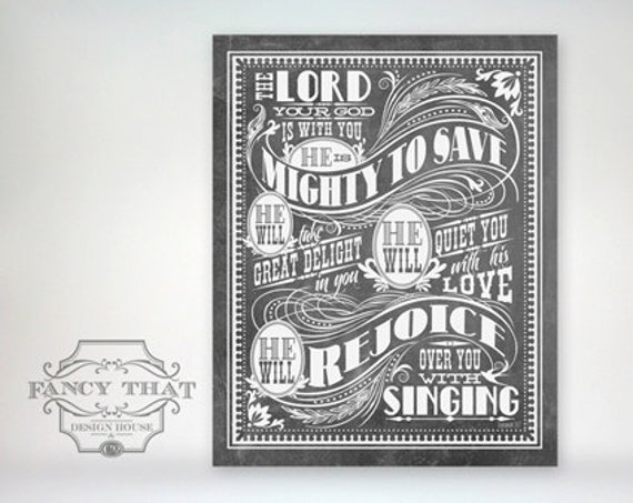 8x10 art print - Mighty To Save - Grey Chalkboard / Blackboard Look, Typography Poster Print - Zephaniah Scripture Bible Verse