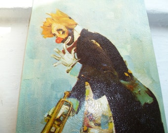 Clown Painting, Kitschy Clown Picture, Lithograph on Cardboard, Rico Tomaso, Clown and Goose