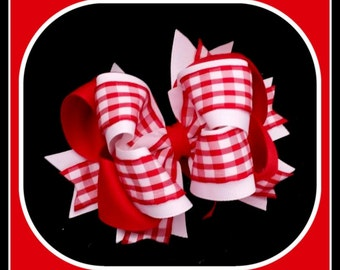 Red Gingham Hair Bow....Red Gingham Bow....Girls Gingham Hair Bow...Toddler Gingham Hair Bow