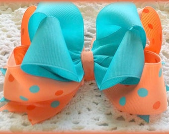 Turqoise and Coral Bow....Aqua and Coral Bow...Coral and Aqua Polka dot bow.....Triple layer Turquoise and Orange Bow...