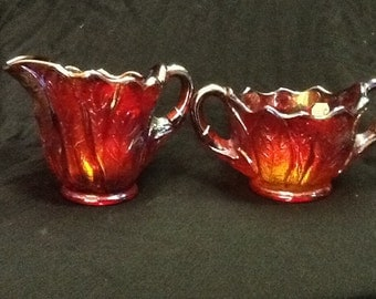 Ruby carnival glass sugar & creamer
