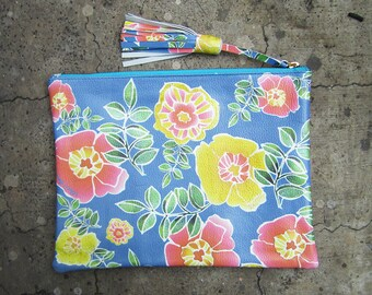 SALE - Limited Edition Spring Flowers Printed Leather Zipper Pouch Clutch