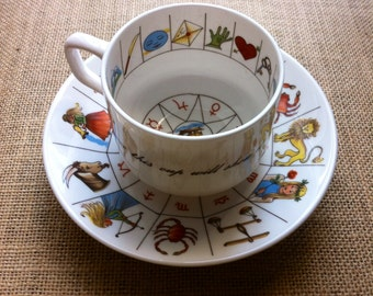 """Tea Cup by Jon Anton, Vintage (1970) """"Ironstone made in England"""" Astrology, Fortune Telling, Tasseography"""