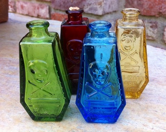 Set of 4 Vintage Wheaton Skull Poison Bottle (MINT), Collectable, Skull and Crossbones, Coffin Shaped Figural Glass, R.I.P Free Ship USA!