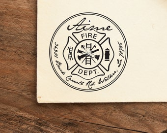 Firefighter Maltese Cross - Personalized Address Stamp - FREE SHIPPING