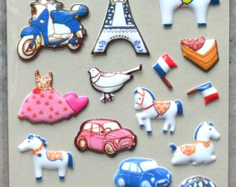 Japanese/ Korean Puffy Stickers - White Dala Horse