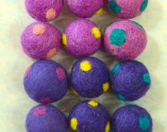 12pcs Purple Mix Polka Dots Wool Felt Balls (2cm)
