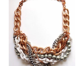 Rose Gold Statement Necklace chunky necklace statement jewelry beaded necklace wedding bridal GIRLS Just WANNA Have FUN