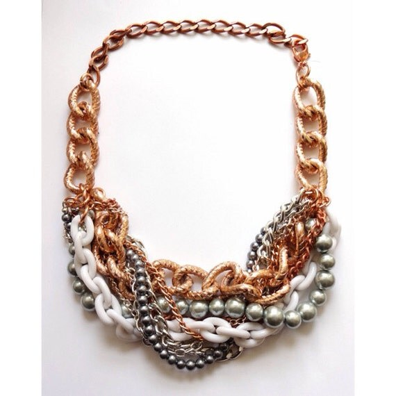 Rose Gold Statement Necklace Chunky Necklace Statement Jewelry