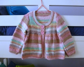 MADE to ORDER Feminine cardigan | hand knit for baby girl 9 to 15 months | pretty pink and multi coloured sweater