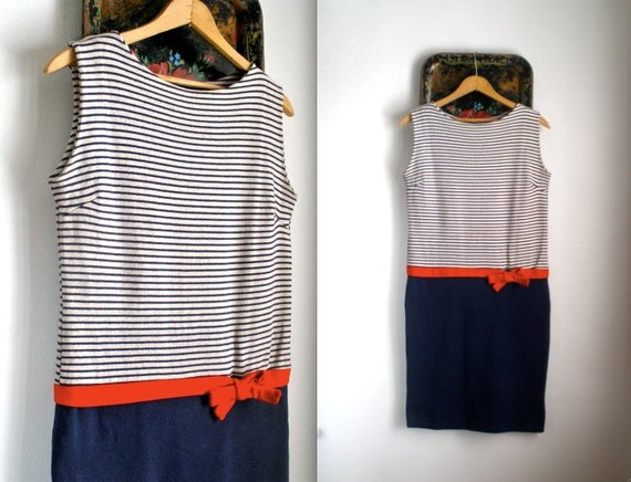 1960s Nautical Drop Waist Knit Dress with Red Bow - Extra Small/Small/Medium