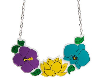 Tropical Flower statement necklace - laser cut mirror acrylic